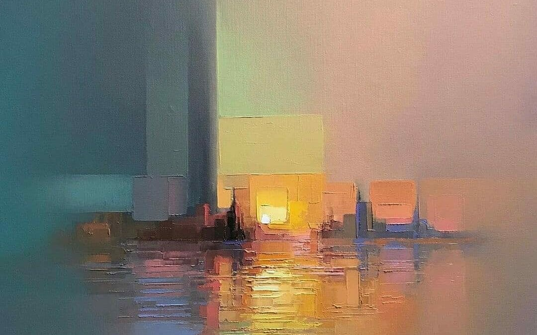 Abstract oil cityscapes by Jason Anderson