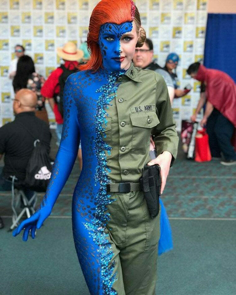 This mystique cosplay mid merge (by magnetomystique)