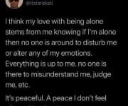 Being alone is peaceful