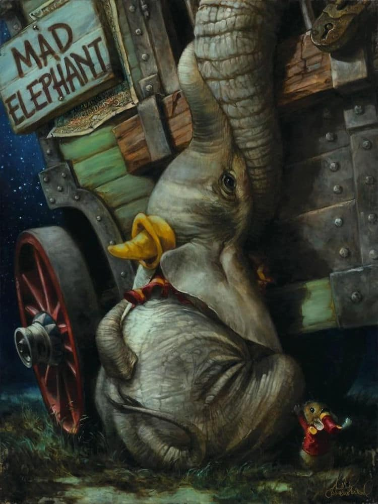Dumbo reimagined as a classic oil painting
