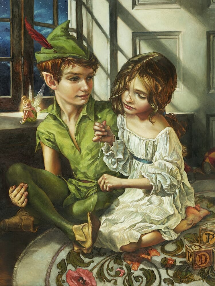 Peter pan reimagined as a classic oil painting