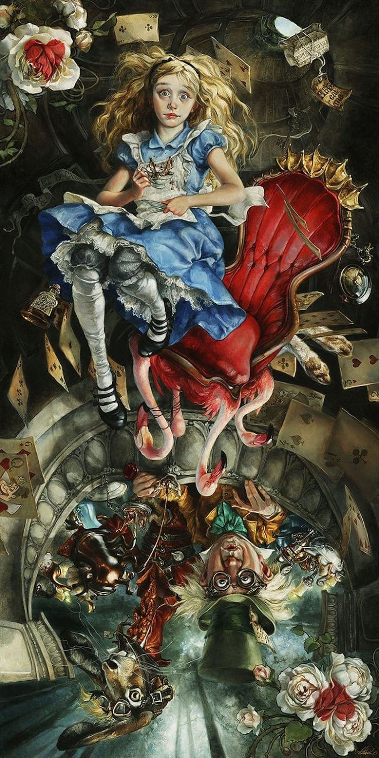 Alice in wonderland reimagined as a classic oil painting