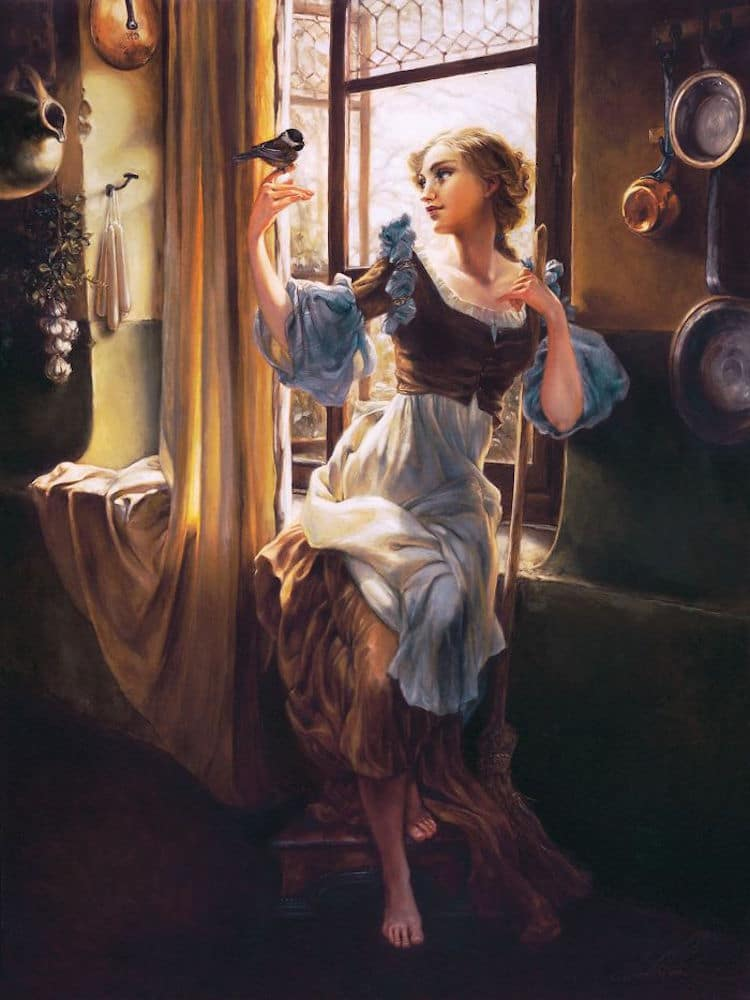 Cinderella reimagined as a classic oil painting