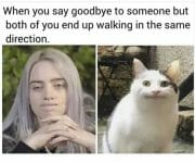 When you say goodbye but both of you end up walking in the same direction